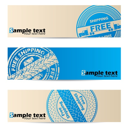 Banner design with cool blue seal set