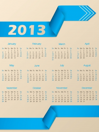 2013 calendar with arrow shaped blue ribbon