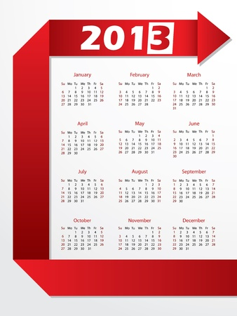 2013 calendar with arrow shaped red origami Stock Vector - 15421408