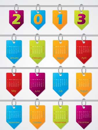 Colorful hanging calendar design for year 2013 Vector