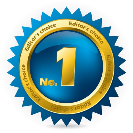 editors: Editors choice number one award badge on white Illustration
