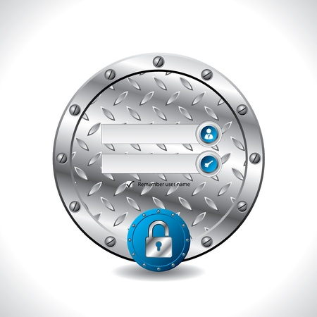 authentication: Abstract industrial login screen design with padlock button