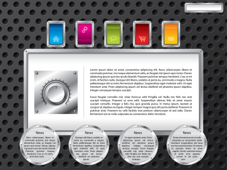 Technology web template design with color buttons Vector