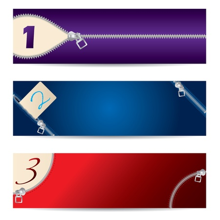 New set of colorful banners with zipper design  Vector