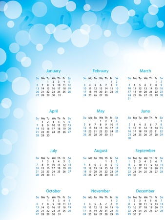 Abstract bubble 2013 calendar in blue and white color Stock Vector - 15730106
