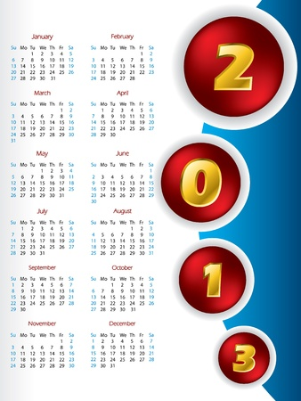 2013 button calendar design with golden numbers Stock Vector - 15730030