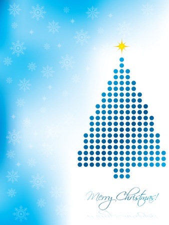 Abstract christmas card design with blue christmas tree Vector