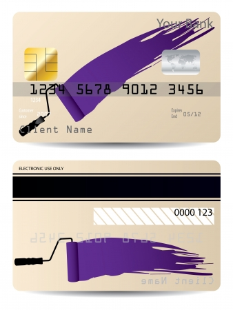 paintroller: Credit card design with paint roller and splatter