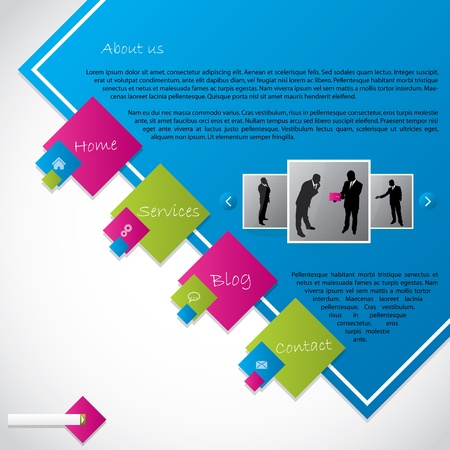 web site design template: Cool new web template design with vivid colors Illustration