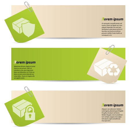 Banners with attached notepapers on white background Ilustrace