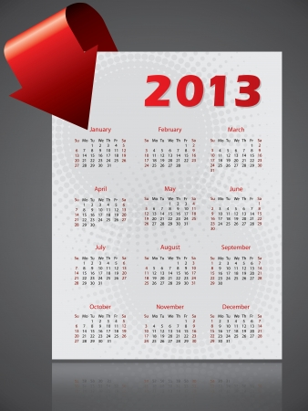 red ribbon week: 2013 calendar design with halftones and bending arrow