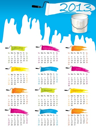 2013 calendar design with splatter and paint bucket Vector