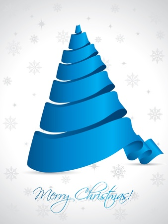christmastree: Blue ribbon christmas tree on white background Illustration