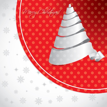 Dotted christmas background design with white ribbon christmas tree Stock Vector - 16013291