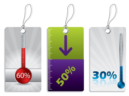 inforgraphic: Shopping label set with thermometer Illustration