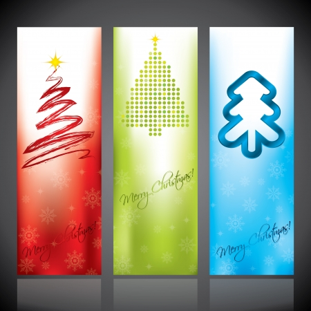 christmastree: Christmas banner set with various christmas tree designs