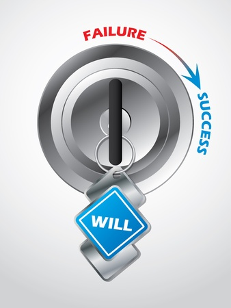 will power: Access to success    the key is will power Illustration