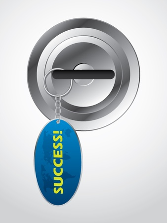 keyholder: Key in lock with success inscriptioned keyholder