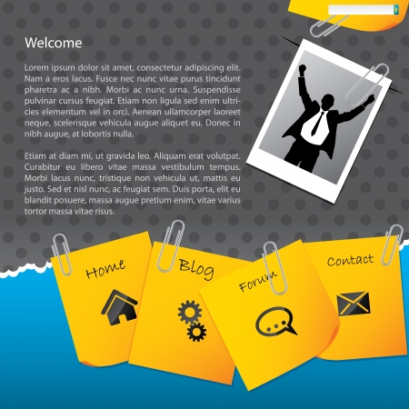 Bussines website template design with paper clipped notepapers and photo Vector