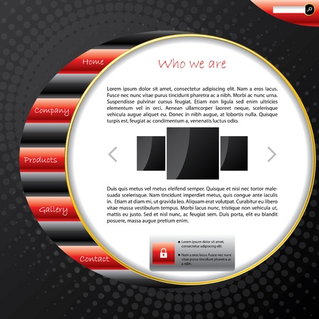 Striped website template design with dark background Vector