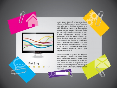 Website template design with product description and rating Vector