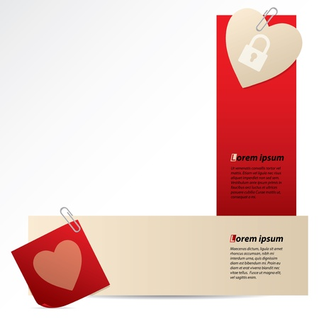 Banners with attached notepaper and heart on white background Stock Vector - 16398847