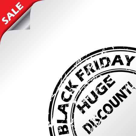 judgement day: Black friday advertising with grunge seal on white background Illustration