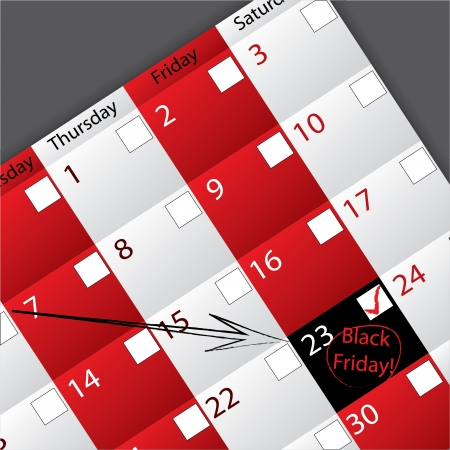 Arrow pointing to circled black friday date Vector