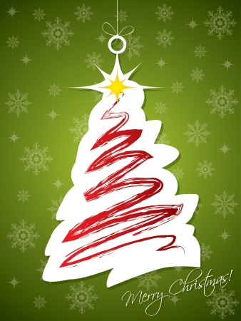 newyear card: Christmas tree label hanging on rope with green background Illustration