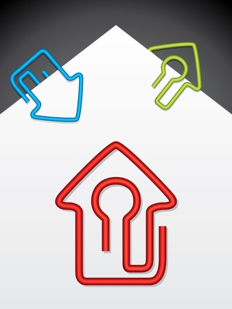 House shaped paper clips on white paper Vector
