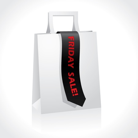 paperbag: Black friday advertising ribbon on white paperbag