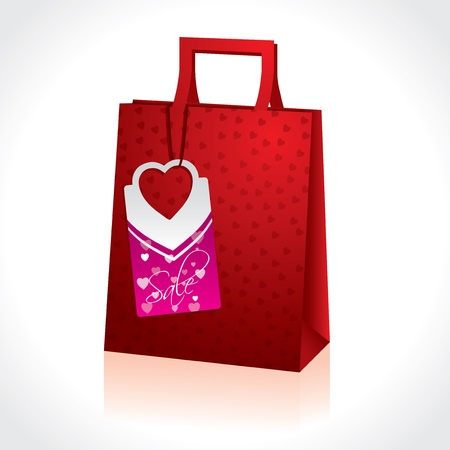 paperbag: Valentine gift in red paperbag with hearts