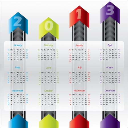 Technology calendar design with arrows for 2013 Stock Vector - 16552084