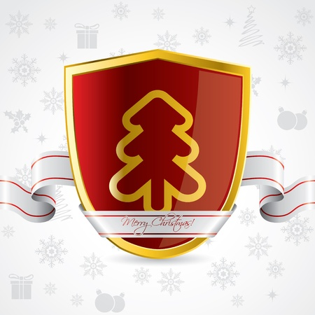 Security background design for christmas holidays with red shield Stock Vector - 16552025