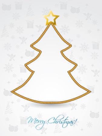 newyear card: Christmas tree shaped rope on greeting card