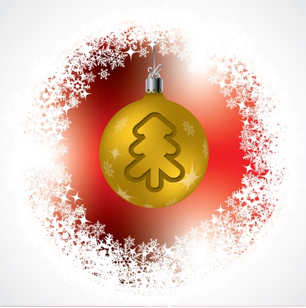 new years eve party: Christmas tree shape on golden decoration with red background Illustration