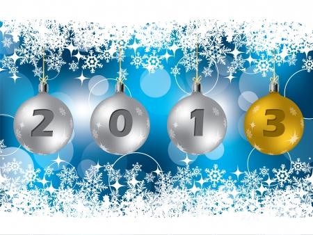 glisten: 2013 Рождественские украшения на синем открытку Иллюстрация