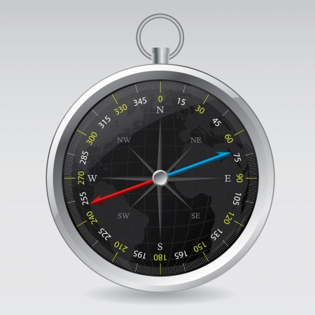 lost world: Cool compass design with dark globe background  Illustration