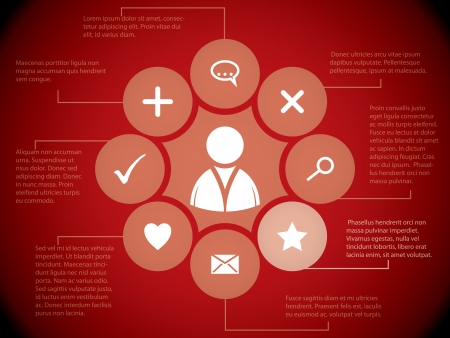 visualization: Social media elements and relations on red background  Illustration
