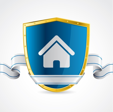 guard house: Home protection illustrated with shield and ribbon on white background