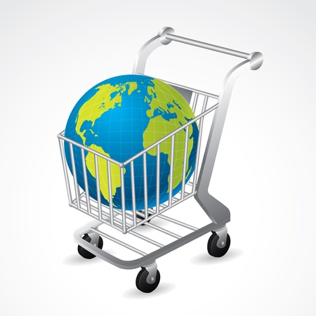 Shopping cart carrying the globe on white background Stock Vector - 16552007