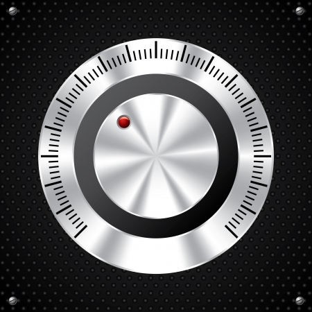 turn screw: Volume knob design with red LED on dotted background
