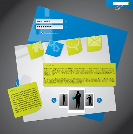 website security: New website template design with notepapers attached to background