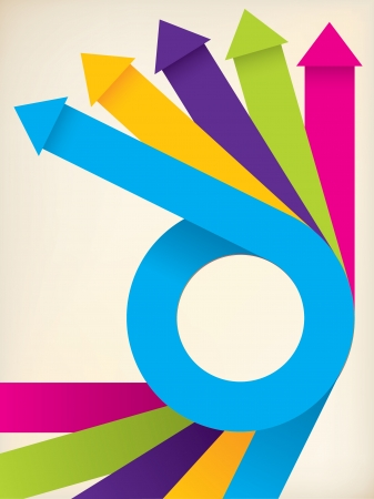 curving: Curving color ribbons with arrows on background Illustration