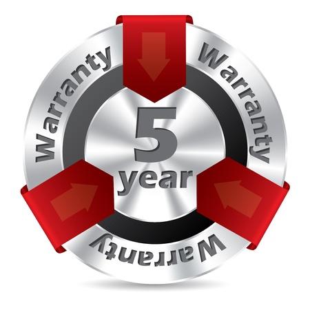 5 jaar garantie badge design in zilver en rode kleur Vector Illustratie