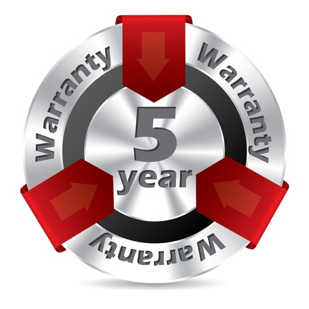 5 year warranty badge design in silver and red color Vector