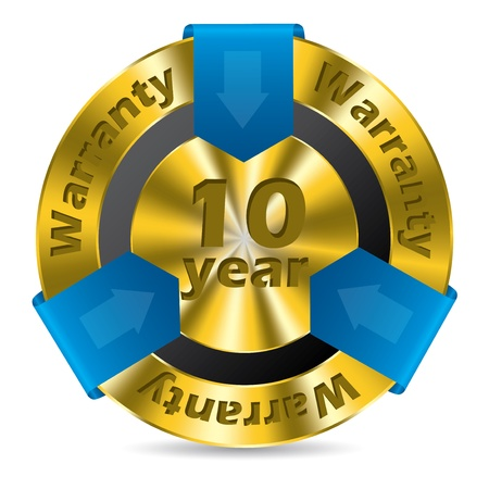 10 year warranty badge design in gold and blue color Vector