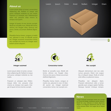 24h: Worldwide shipping website template design with symbols Illustration