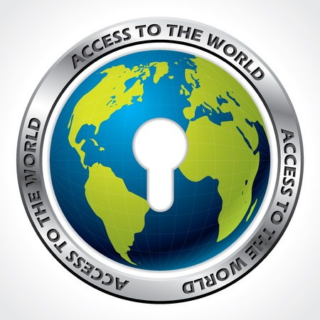 pent: Access to the world through keyhole on white background