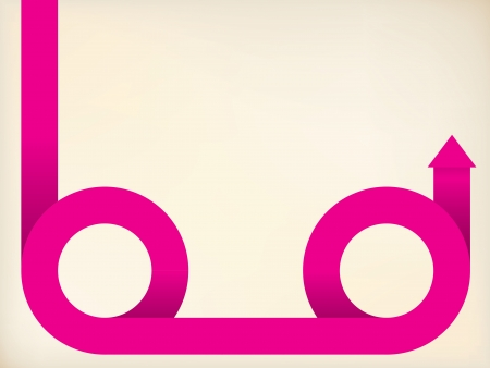 curving: Curving pink arrow shaped ribbon on pale background